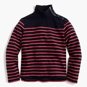J. Crew Striped button neck top